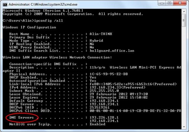 Ipconfig DNS Servers