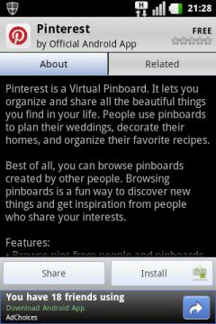 Pinterest on AppBrain