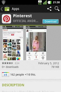 Pinterest on Android Market