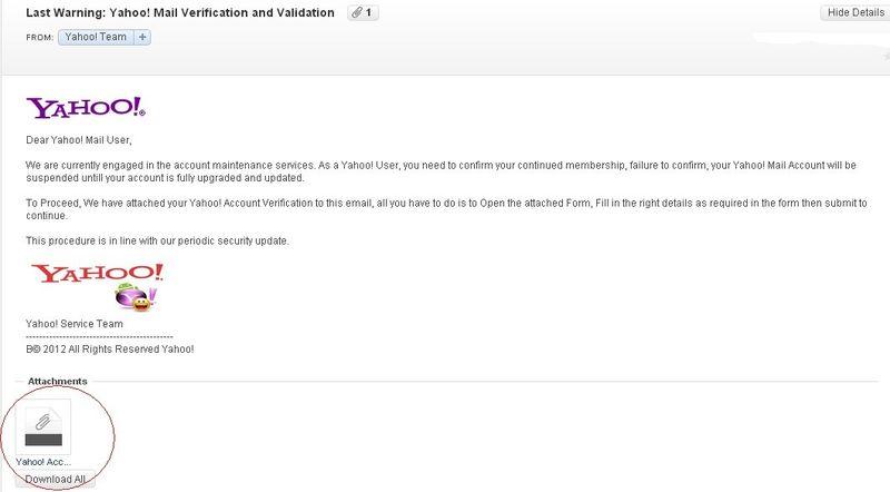 Yahoo confirmation